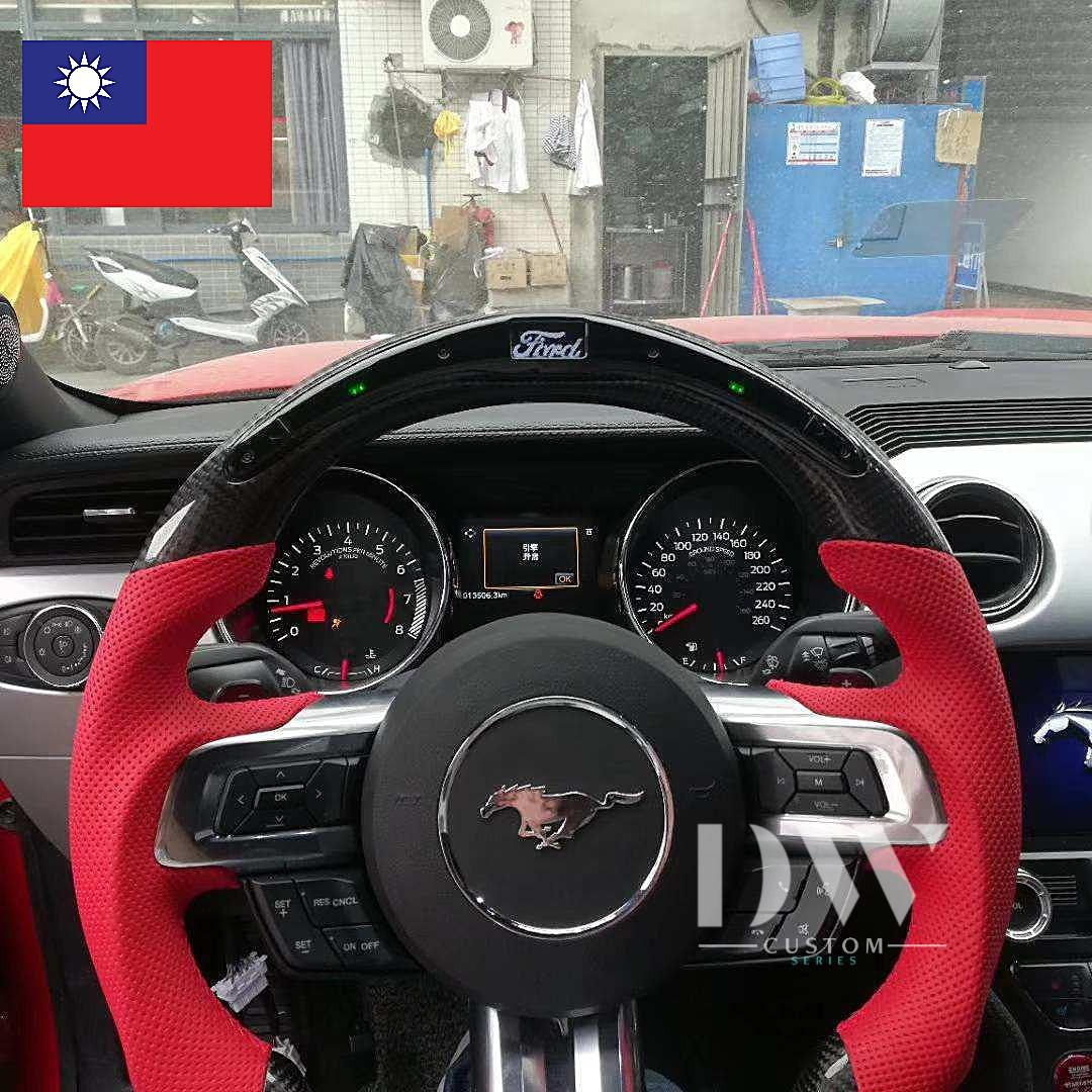 Mustang Carbon Fiber Steering Wheel With Led Gear Shifter Light Indicator Car Accessories Accessories On Carousell