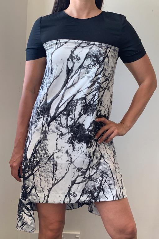 NEW W TAGS DECJUBA Black Grey Tree Print Asymmetric Hem Shift Dress Sz S AU 8