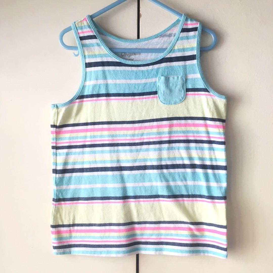 Oshkosh B'gosh Boys' Green / Blue Stripes Sleeveless Top / Sando (5-6 years old)
