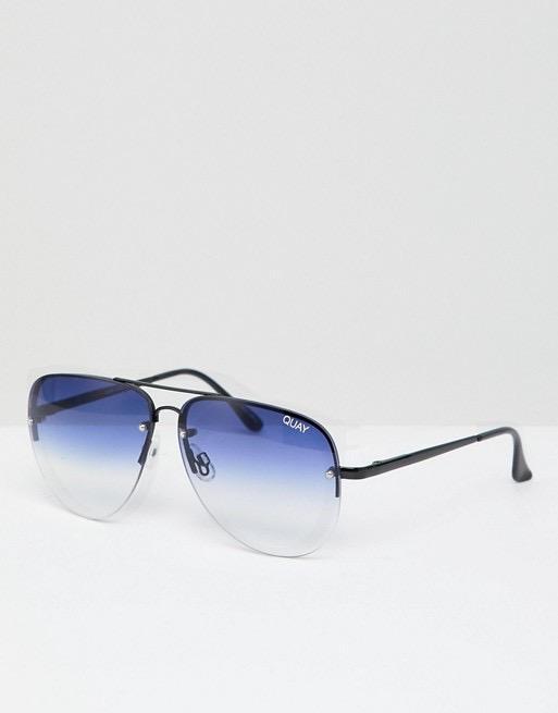 QUAY Australia: Muse Fade Aviator Sunglasses in Ombre Tinted Lens