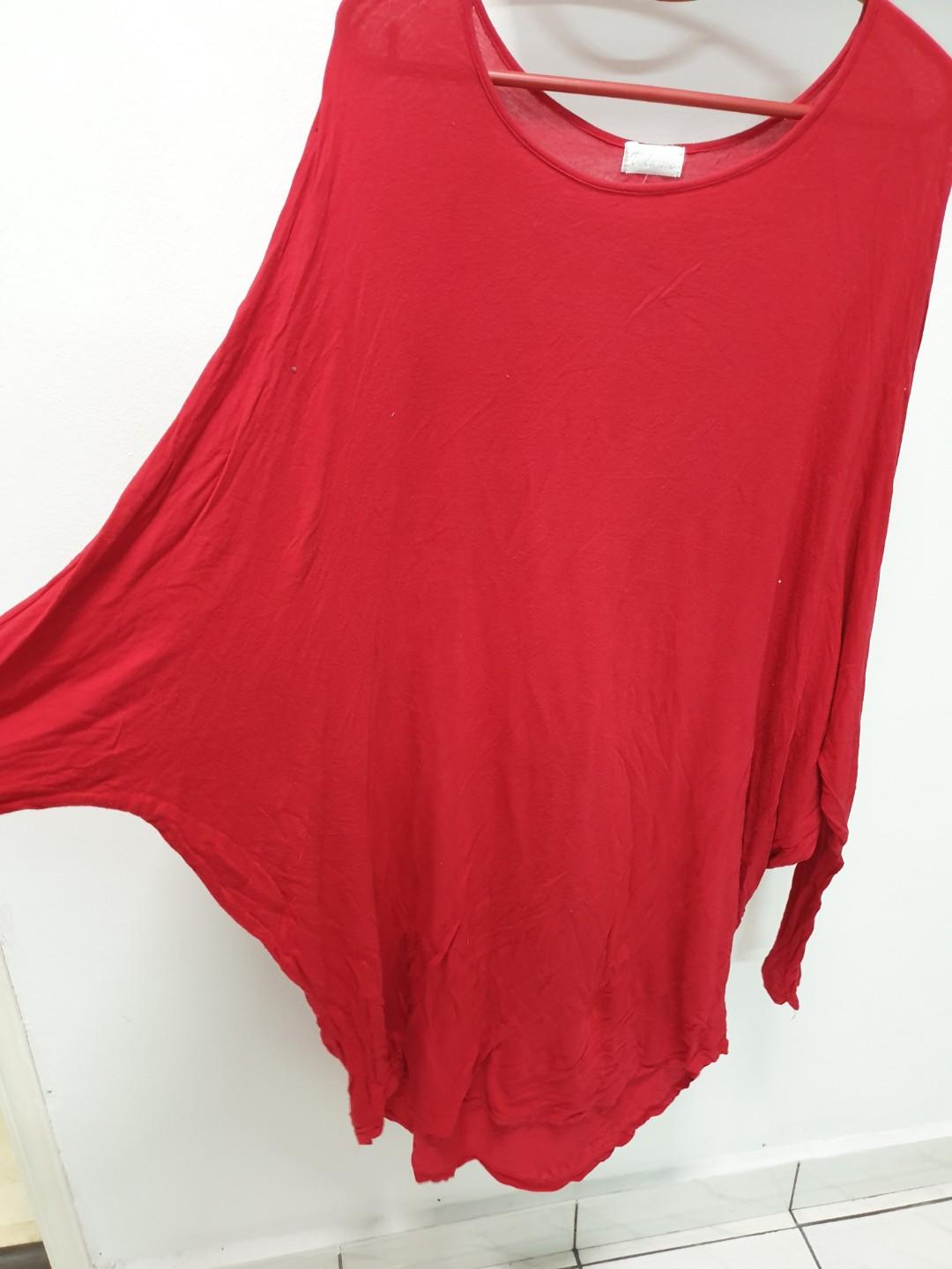 Red batwing top