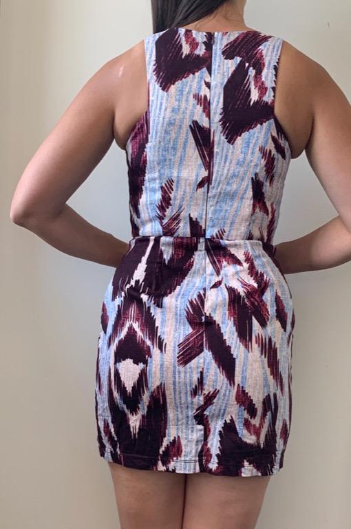SHONA JOY Blue Red Abstract Print Mini Dress Sz AU 10