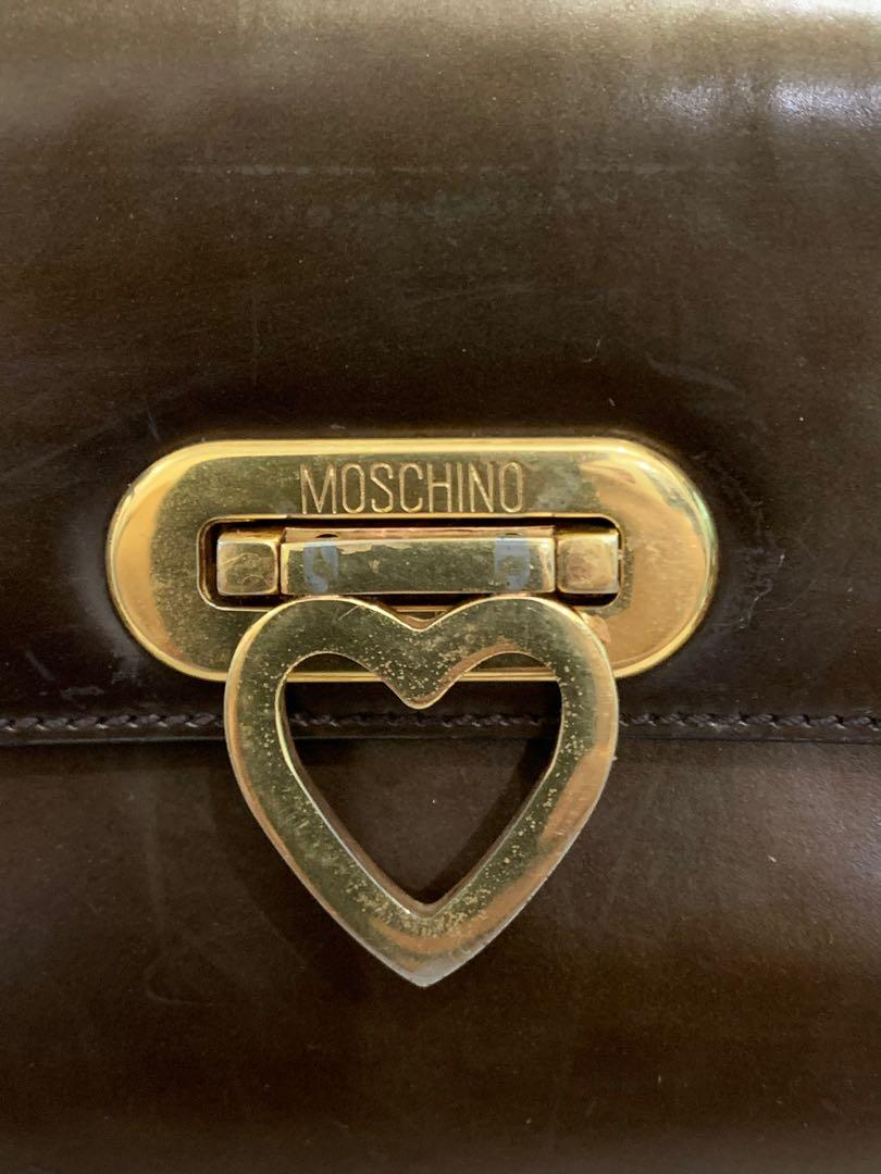 Tas shoulder Moschino authentic full paten skin leather 80% OK size 22 x 15 x 10 cm cantik sangat murah