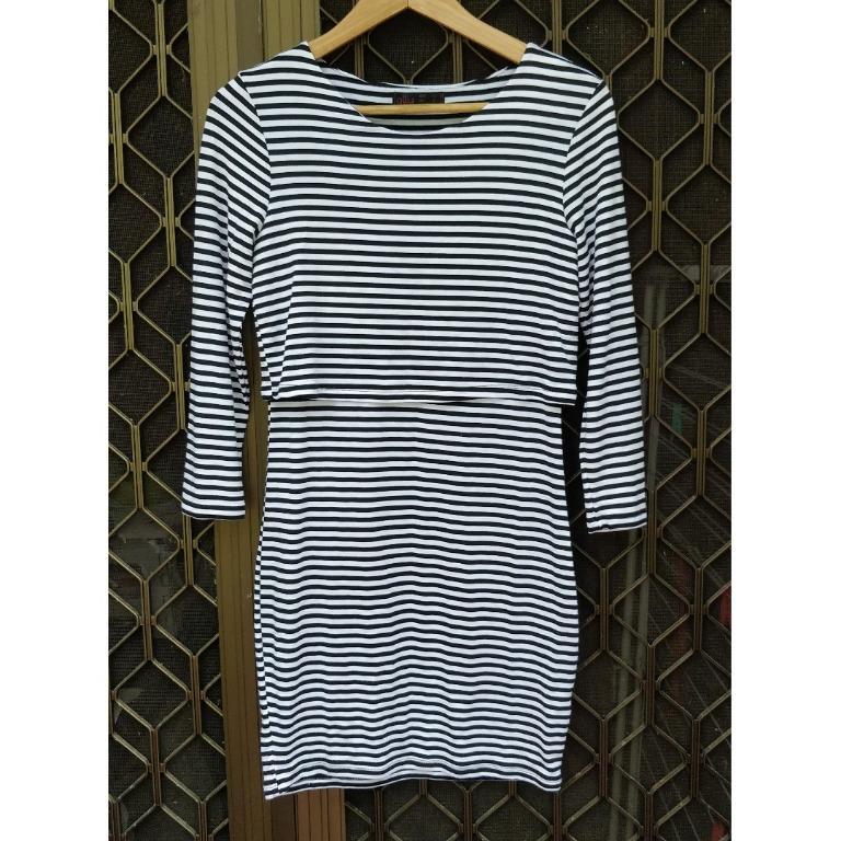 TEMT Striped Mini Dress Long Sleeve Double Layered Basic Bodycon Dollygirl Allyfashion