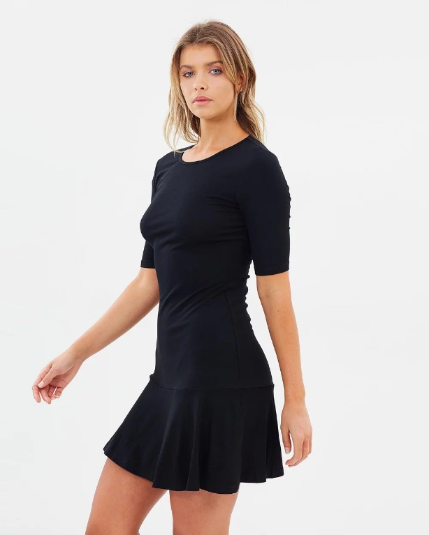 THE ICONIC X ATMOS&HERE Essential Drop Waist Dress Black Classic LBD Mini Tennis Kookai Glassons