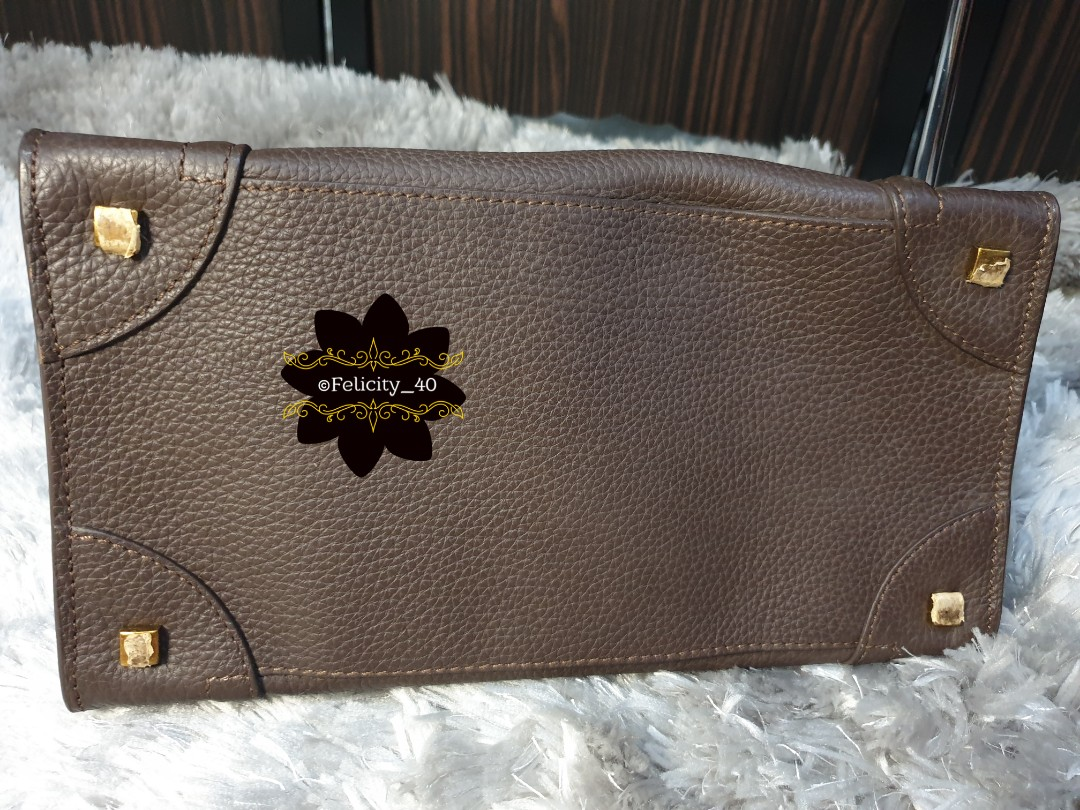 Celine Tote Luggage Drummed Micro Calfskin Leather Shoulder Bag