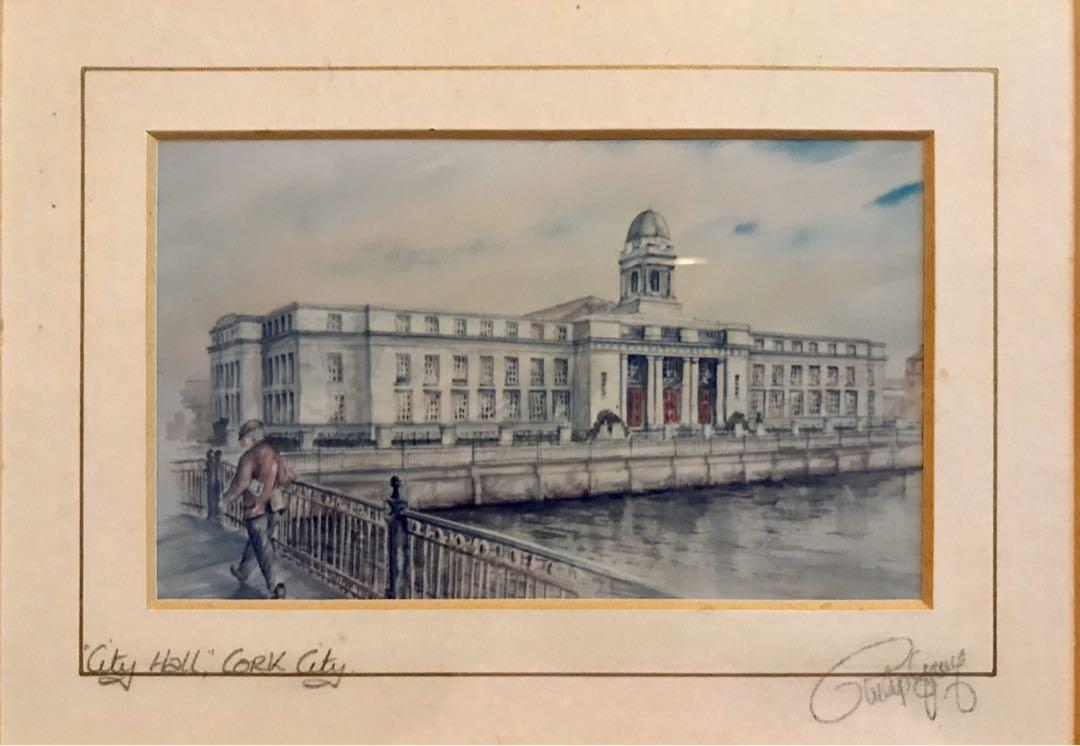 Vintage City Hall Cork City Art Print signed by Artist Uk