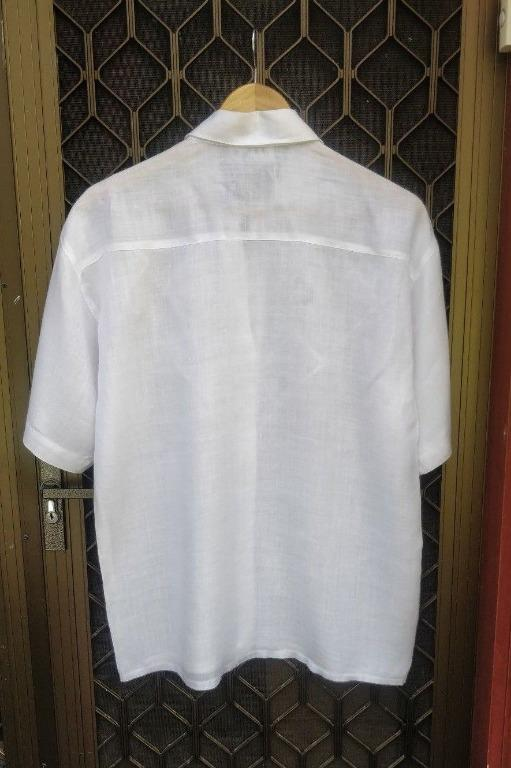 Vintage White Button Up Shirt Embroidered Detail Short Sleeve Linen Woven Style