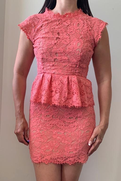 WITCHERY Pink Lace High Neck Bodycon Dress Sz AU 8