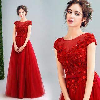 全新✨紅色L號公主包袖結婚敬酒禮服👰比租禮服還便宜❤️修改都划算喔!