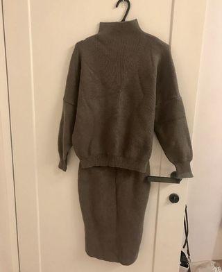 韓國 實搭優雅小立領深咖啡針織毛衣+針織裙 set