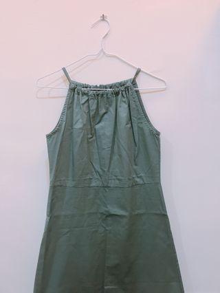 AJPEACE 莫藍迪綠削尖洋裝