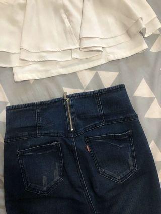 超激瘦排扣褲