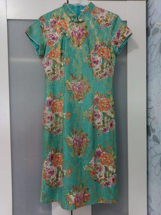 湖水綠古典旗袍