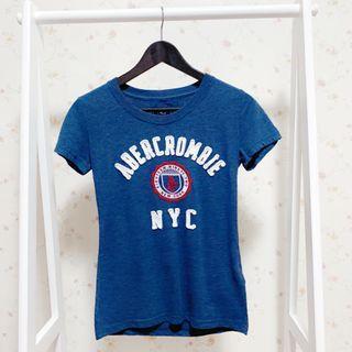 Abercrombie&fitch A&F圓領短袖貼布NYC字母基本款LOGO短T上衣-深藍M