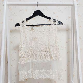 波希米亞民族風鏤空針織拼接蕾絲無袖短版馬甲背心罩衫上衣-米白F