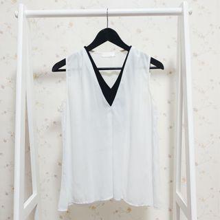 韓版氣質透膚素面拼接黑色撞色V領無袖背心雪紡上衣-白F