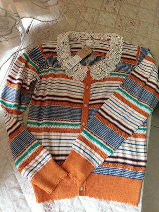 (日本帶回)全新!原價:3280亮眼橘橫條外套