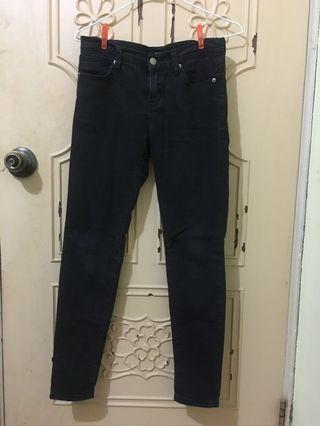 Forever 21牛仔長褲-黑、藍
