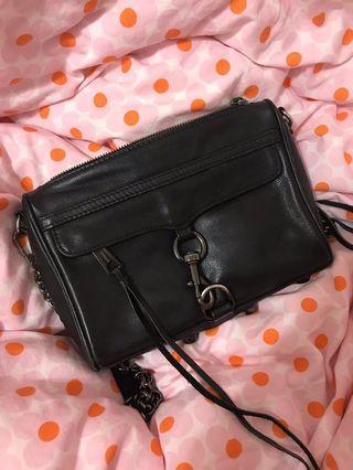 Rebecca Minkoff MINI MAC 黑色牛皮基本款 側背包/肩背包/鏈包(鐵黑鍊)二手