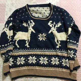 藍色雪花麋鹿寬鬆圓領毛衣