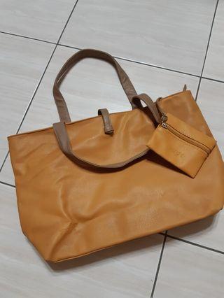 米橘色 托特包 背包 側背包