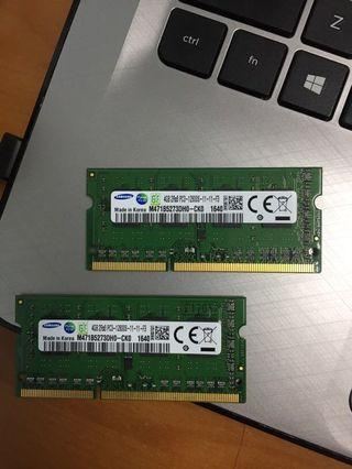 Ram Laptop Samsung Sodimm 8gb (4x2) DDR3-1600