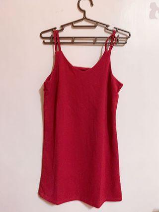 紅色連身吊帶短裙