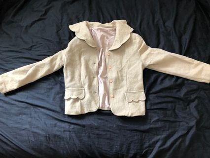 🔥雙10當天特價100!🔥日系韓版淡米色米白色荷葉邊領子可愛少女春意外套