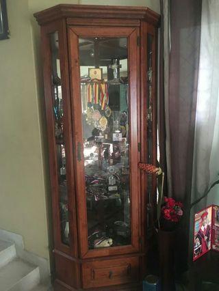 Display Cabinet - heavy wood with glass door & shelves