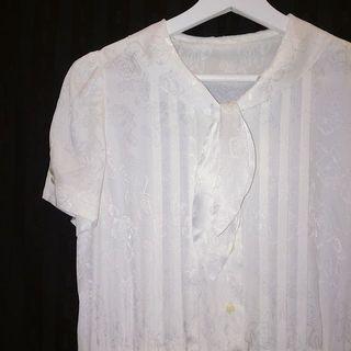 ✼純白玫瑰花洋裝✼ 領結 褶襇 百褶中長裙 短袖 素色清新少女 森林系 早期 日本古着Vintage