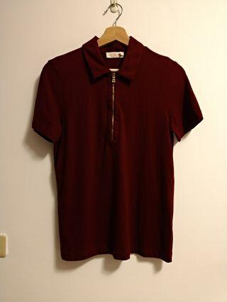 🐡Tory Burch酒紅色Polo衫-S