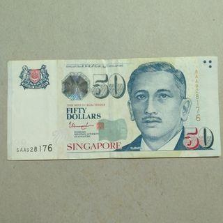 Singapore $50 AA paper note VF