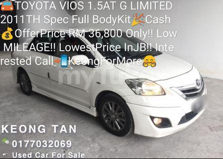 TOYOTA VIOS 1.5AT G LIMITED 2011TH Spec FullBodyKit🎉Cash💰OfferPrice RM 36,800 Only‼Low MILEAGE‼LowestPrice InJB‼Interested Call📲KeongForMore🤗