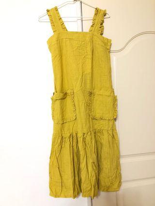 芥末黃荷葉肩洋裝