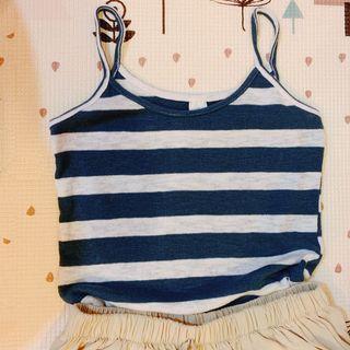 復古色藍白條紋細肩帶柔軟背心