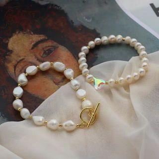2款 巴洛克珍珠法式 水晶愛心手鍊