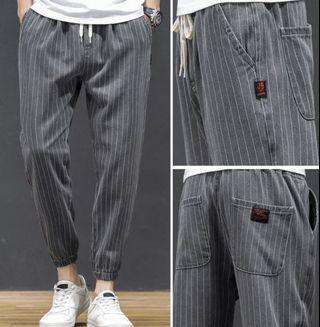 灰色條紋 修身束腳 牛仔褲 棉質