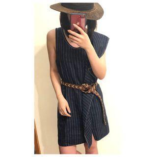 3.1 PHILLIP LIM 牛仔藍條紋荷葉洋裝