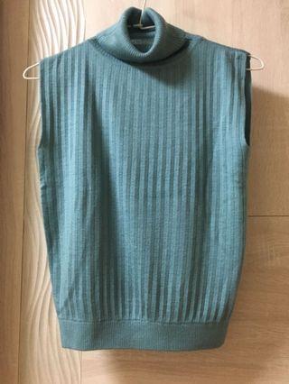 灰藍色 高領 針織 毛衣 無袖 背心 s號