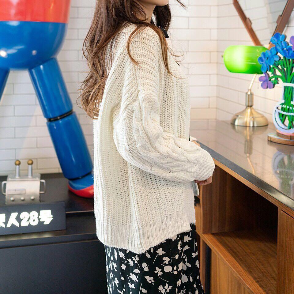 #正韓微泡泡袖針織外套-4色