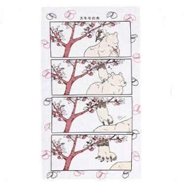 熊熊與狸貓 四格漫畫手巾 李子樹