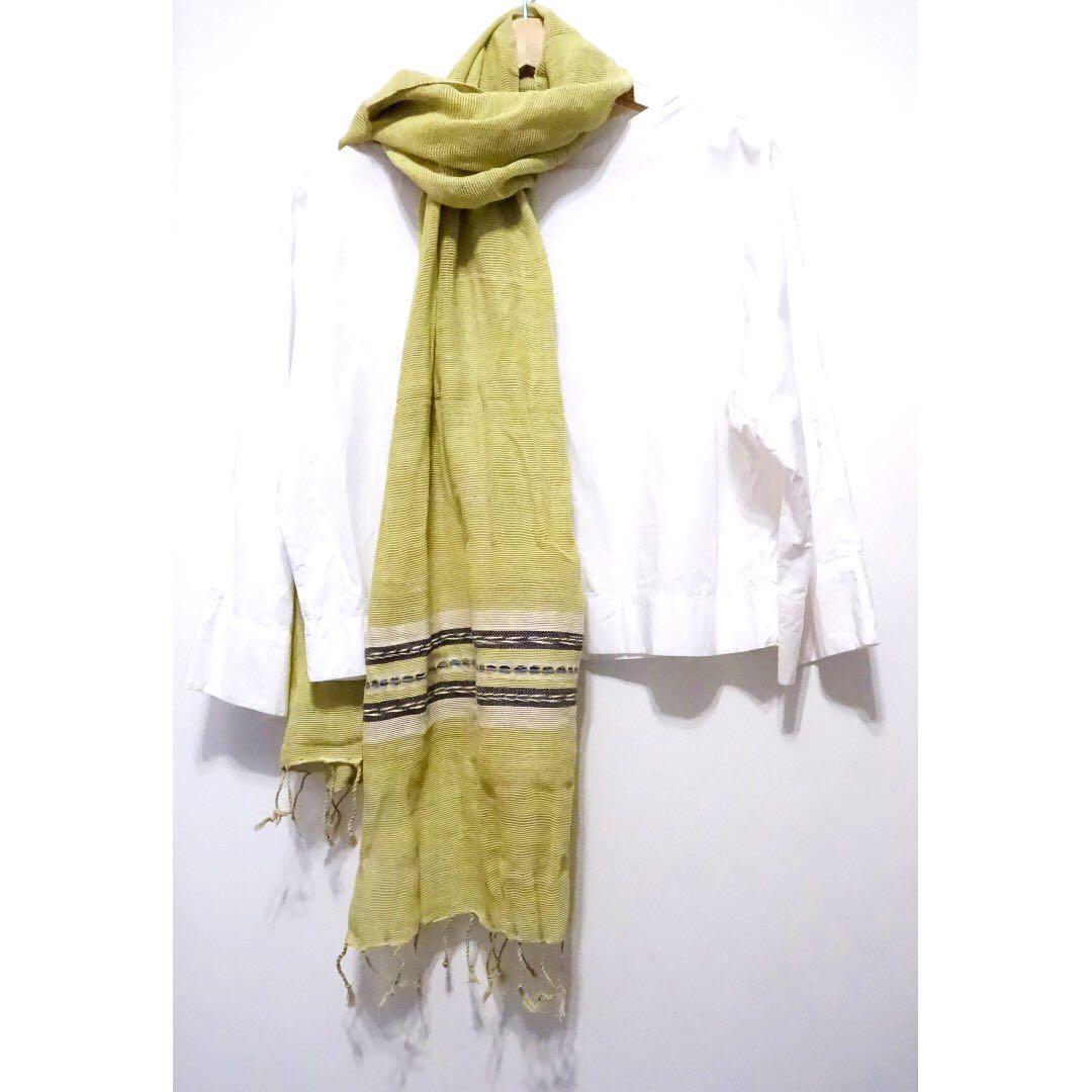(長版)清邁純棉手織植物染圍巾 底-蘋果綠 天藍編織花紋