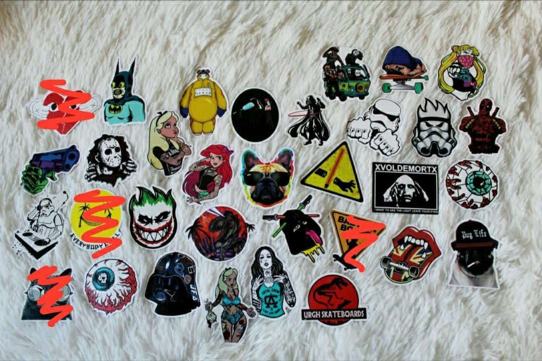 ASSORTED STICKERS • MATTE FINISH • CARTOON CHARACTERS • POP CULTURE • SKATEBOARD STICKERS