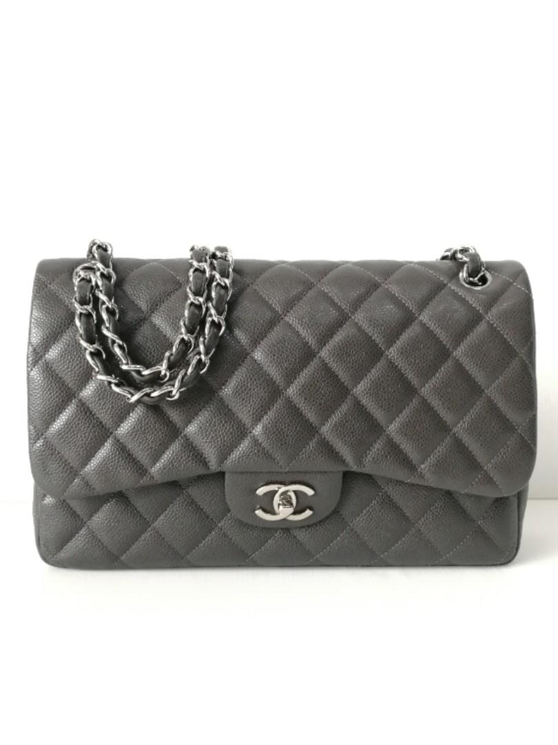 Authentic Chanel Classic Jumbo Flap Bag Etain Grey Caviar Shw