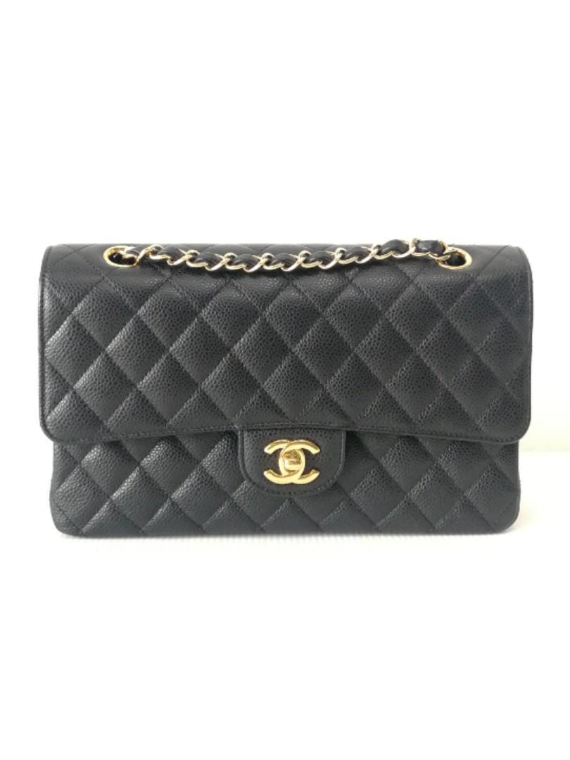 Authentic Chanel Classic Medium Flap Bag Black Caviar Ghw