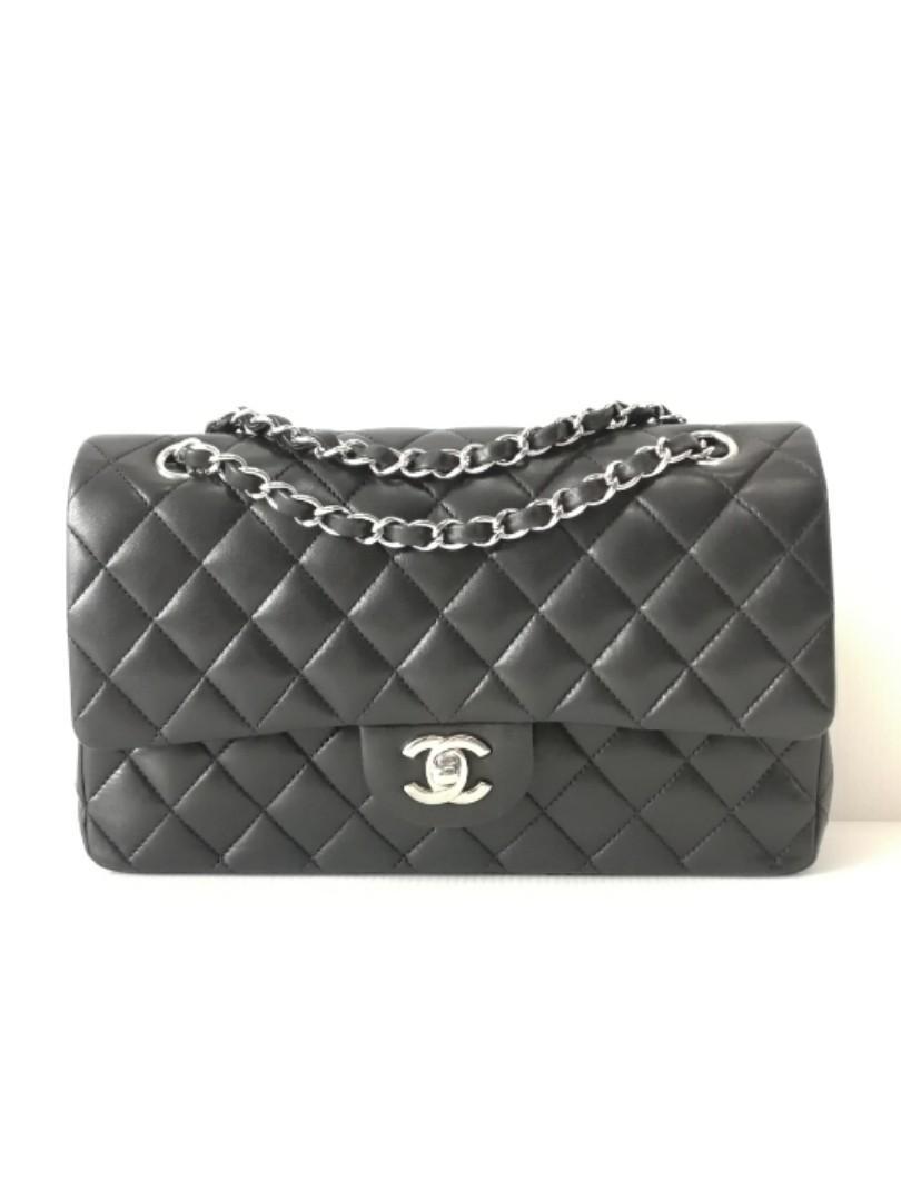 Authentic Chanel Classic Medium Flap Bag Black Lamb Shw