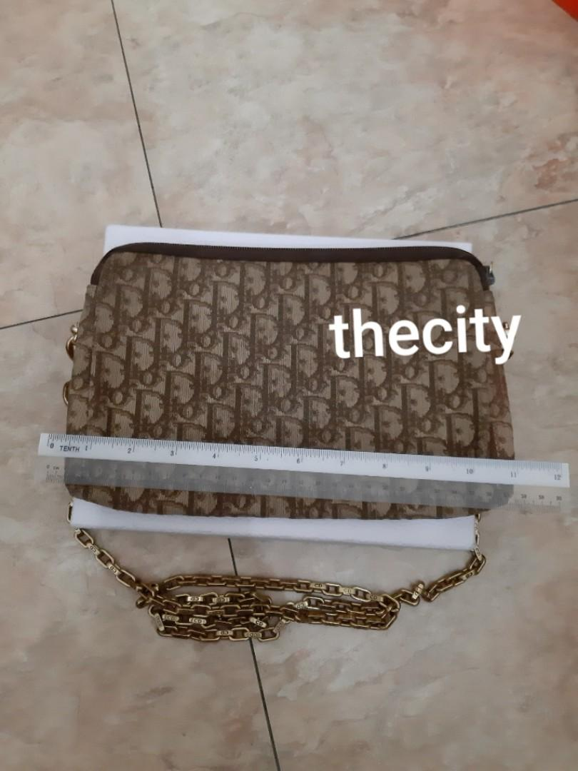 AUTHENTIC DIOR LARGE VANITY POUCH / CLUTCH - DIOR MONOGRAM LOGO DESIGN- CLEAN INTERIOR- COMES WITH EXTRA ADD. HOOKS & LONG DIOR CHAIN STRAP FOR CROSSBODY SLING - GOLD HARDWARE - (DIOR MONOGRAM LOGO DESIGN BAGS NOW RETAIL OVER RM 10,000+)