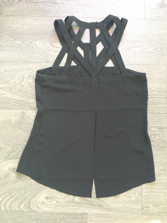 BCBG Maxazria Cutout Neckline Black Top Size Small