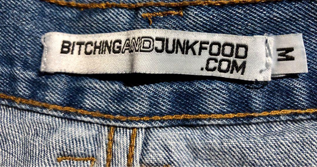 BITCHING & JUNKFOOD Denim Shorts With Patent Cross